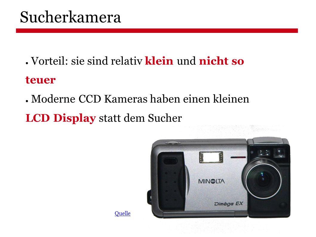 Sucherkamera ● Vorteil: sie sind relativ klein und nicht so teuer ● Moderne CCD Kameras haben einen kleinen LCD Display statt dem Sucher Quelle