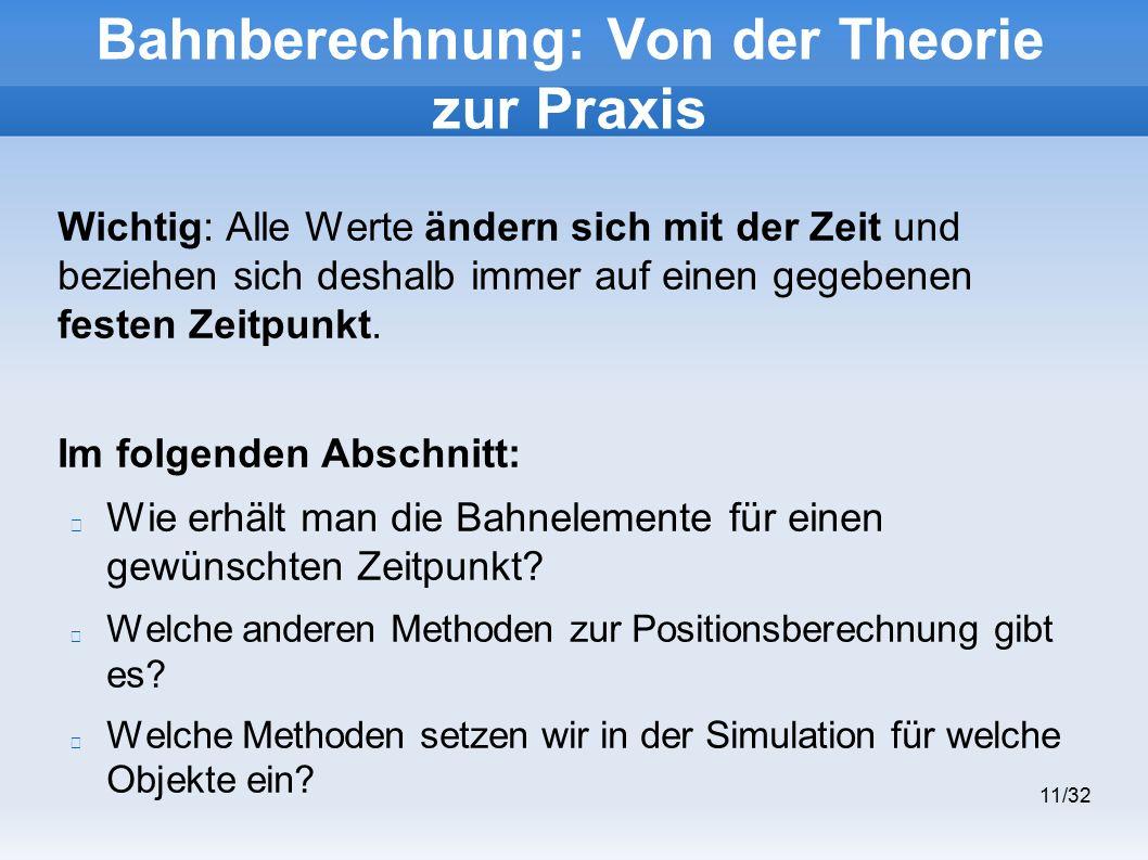 11/32 Bahnberechnung: Von der Theorie zur Praxis Wichtig: Alle Werte ändern sich mit der Zeit und beziehen sich deshalb immer auf einen gegebenen festen Zeitpunkt.