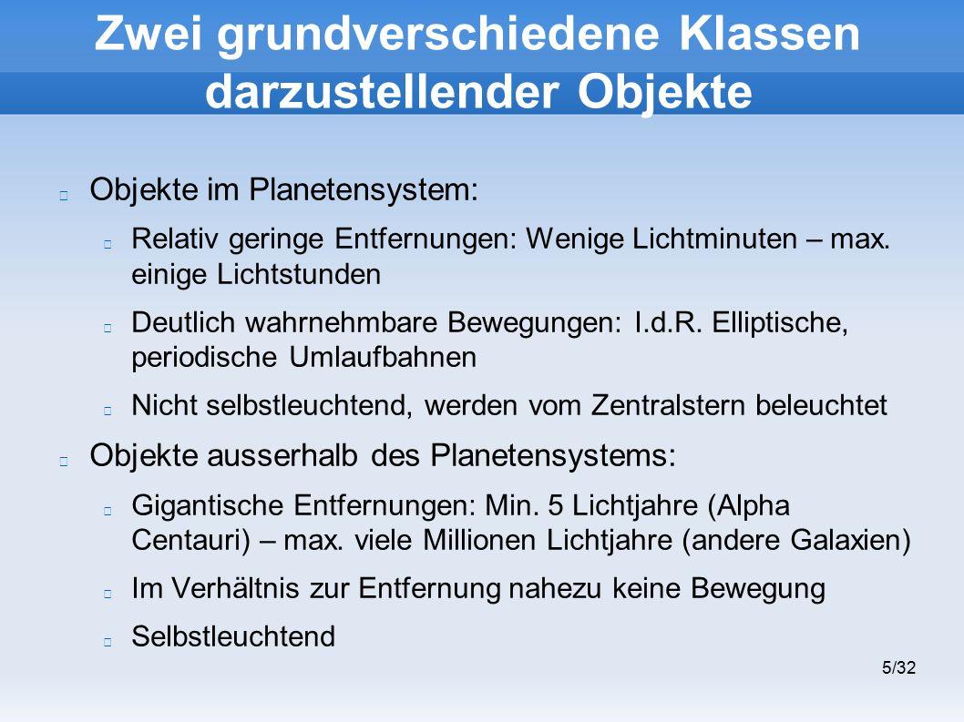 5/32 Zwei grundverschiedene Klassen darzustellender Objekte Objekte im Planetensystem: Relativ geringe Entfernungen: Wenige Lichtminuten – max.