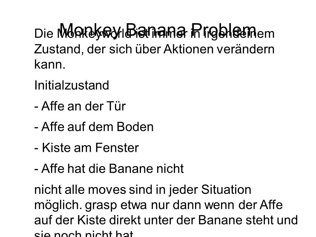 Monkey Banana Problem Die Monkeyworld ist immer in irgendeinem Zustand, der sich über Aktionen verändern kann. Initialzustand - Affe an der Tür - Affe