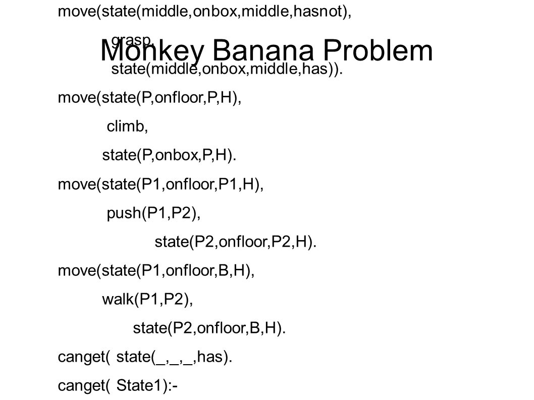 Monkey Banana Problem move(state(middle,onbox,middle,hasnot), grasp, state(middle,onbox,middle,has)).