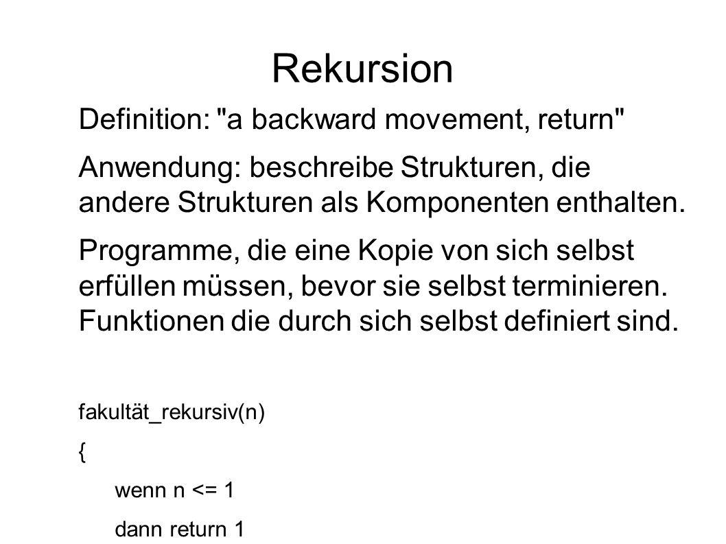 Rekursion Definition: