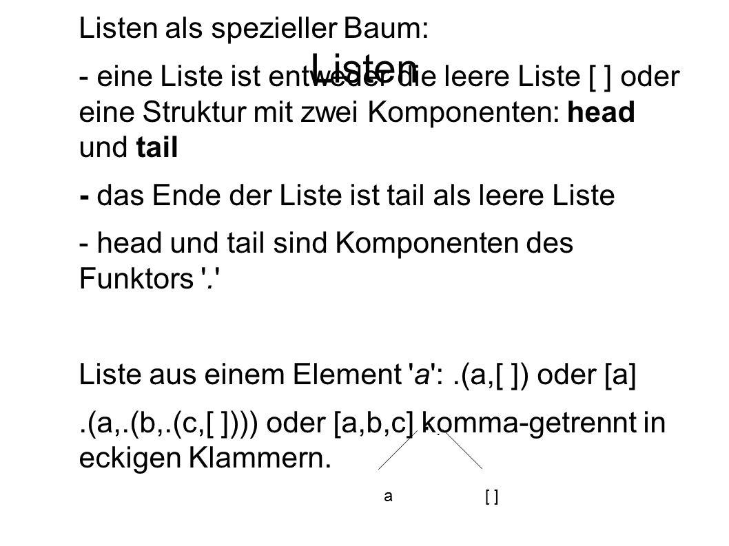 Listen Listen als spezieller Baum: - eine Liste ist entweder die leere Liste [ ] oder eine Struktur mit zwei Komponenten: head und tail - das Ende der
