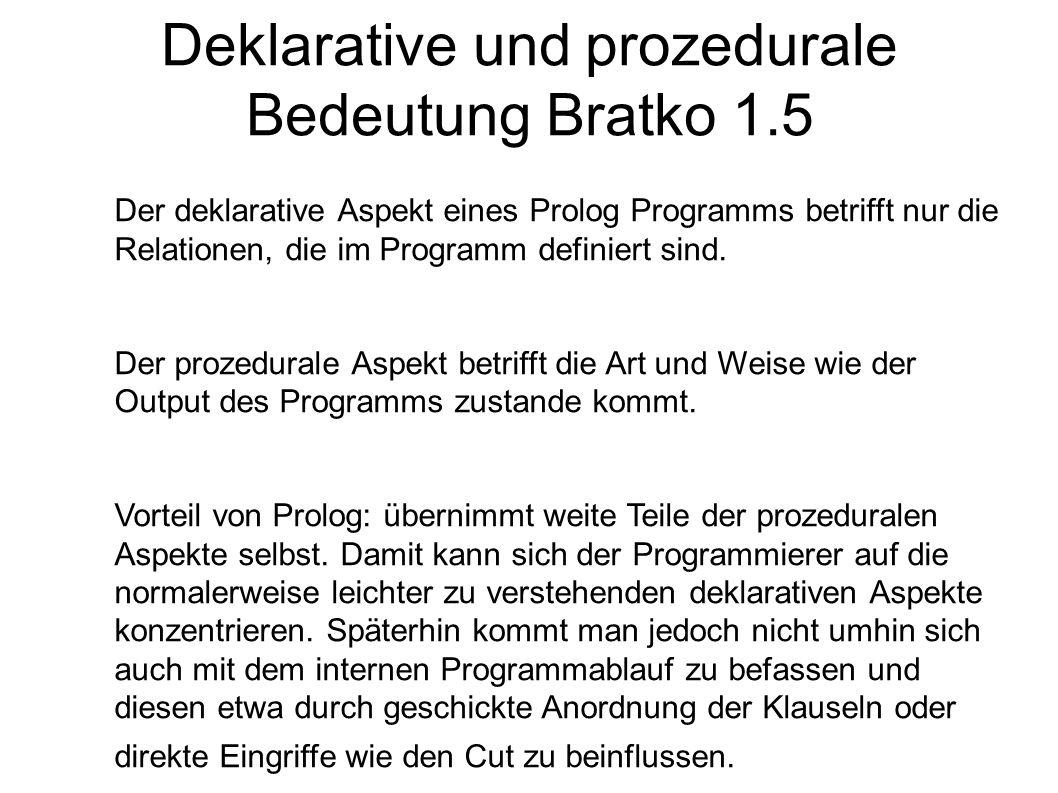 Deklarative und prozedurale Bedeutung Bratko 1.5 Der deklarative Aspekt eines Prolog Programms betrifft nur die Relationen, die im Programm definiert