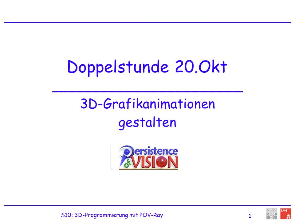 "S10: 3D-Programmierung mit POV-Ray Include-Dateien // include-Dateien mit Variablen: #include colors.inc #include ""skies.inc // include-Dateien mit Objekten: #include ""koordinatenachsen.inc #include ""saeulen.inc sky_sphere { S_Cloud5 // S_Cloud5 ist Variable aus skies.inc } light_source { color White // White ist Variable aus colors.inc } // Angezeigte Koordinatenachsen und Saeulen sind ebenfalls // in den include-Dateien beschrieben"