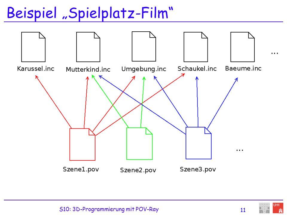 """S10: 3D-Programmierung mit POV-Ray 11 Beispiel """"Spielplatz-Film"""