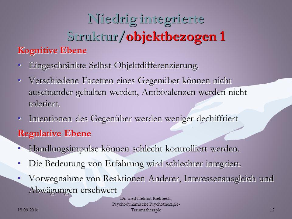 Niedrig integrierte Struktur/objektbezogen 1 Kognitive Ebene Eingeschränkte Selbst-Objektdifferenzierung.Eingeschränkte Selbst-Objektdifferenzierung.
