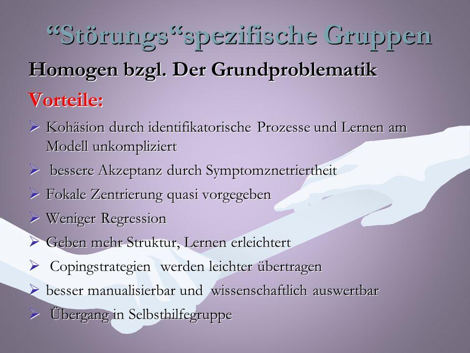 Störungs spezifische Gruppen Störungs spezifische Gruppen Homogen bzgl.