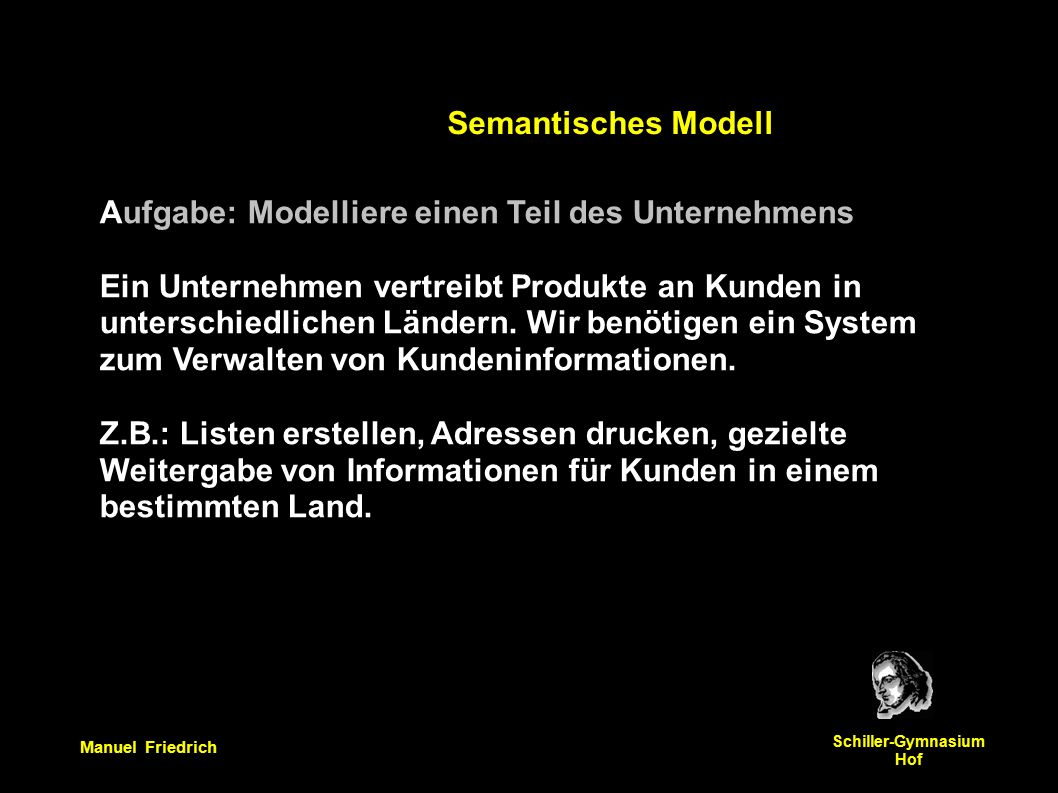 Manuel Friedrich Schiller-Gymnasium Hof Aufgabe: Modelliere einen Teil des Unternehmens Ein Unternehmen vertreibt Produkte an Kunden in unterschiedlichen Ländern.