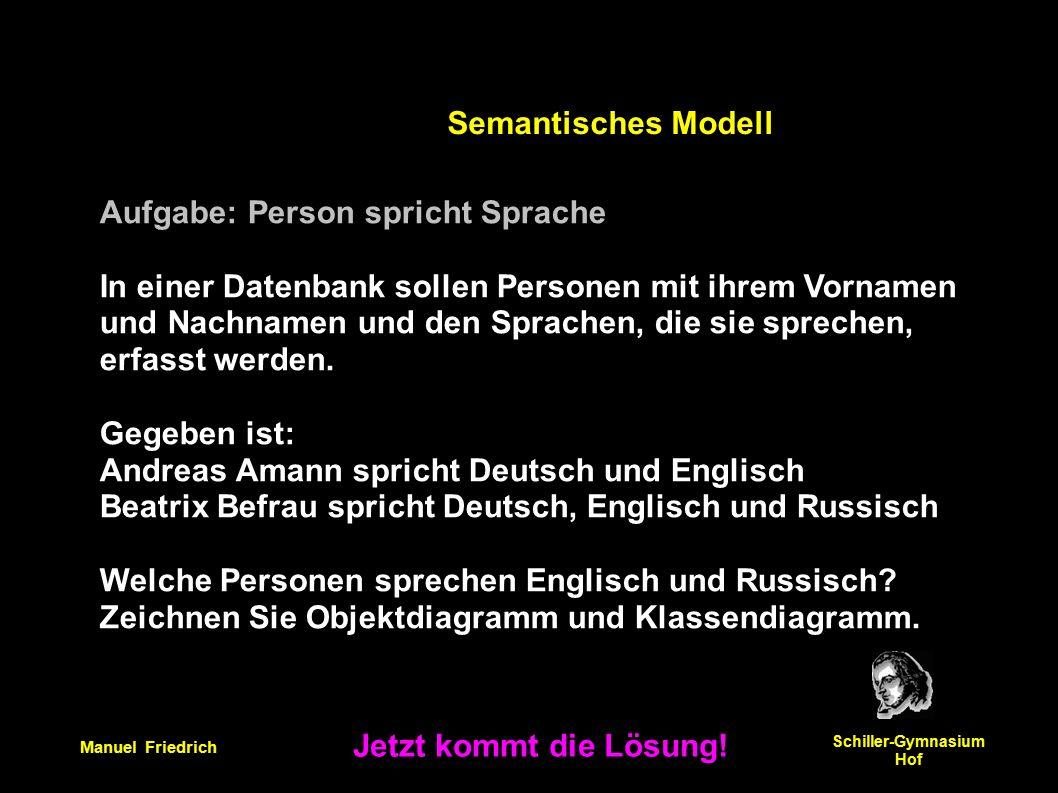 Manuel Friedrich Schiller-Gymnasium Hof Aufgabe: Person spricht Sprache In einer Datenbank sollen Personen mit ihrem Vornamen und Nachnamen und den Sprachen, die sie sprechen, erfasst werden.