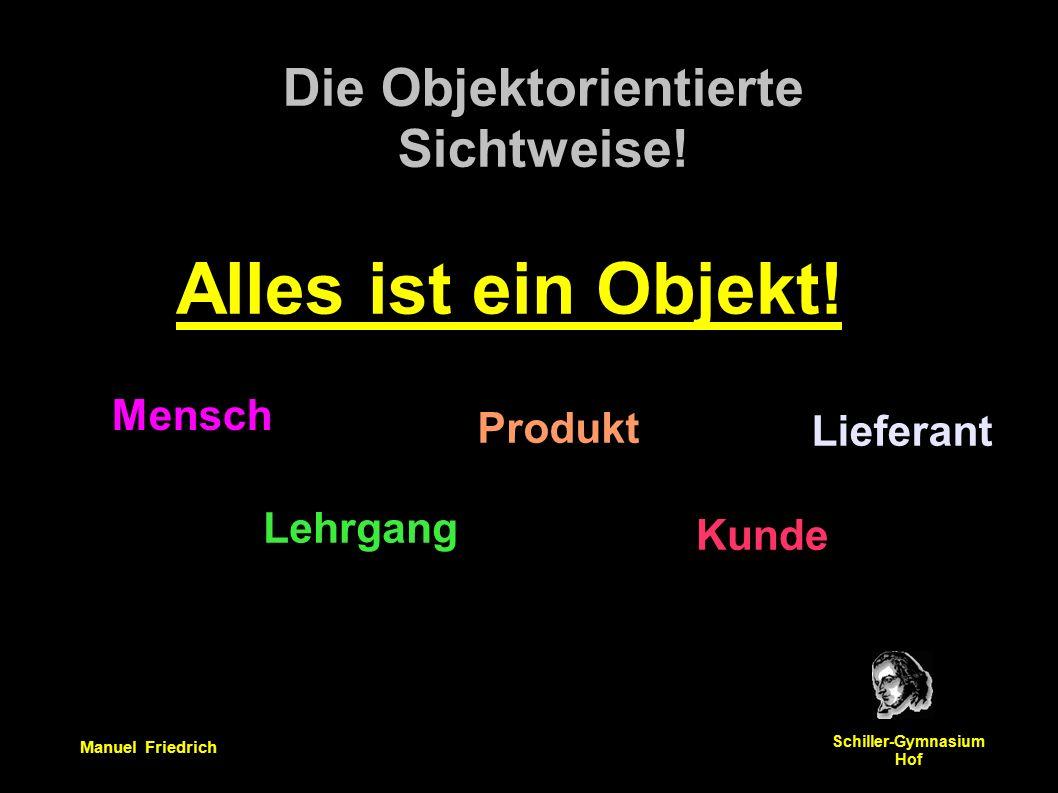 Manuel Friedrich Schiller-Gymnasium Hof Erste Aufgabe: Erstelle ein Objektdiagramm und ein Klassendiagramm Methode: Partnerarbeit.