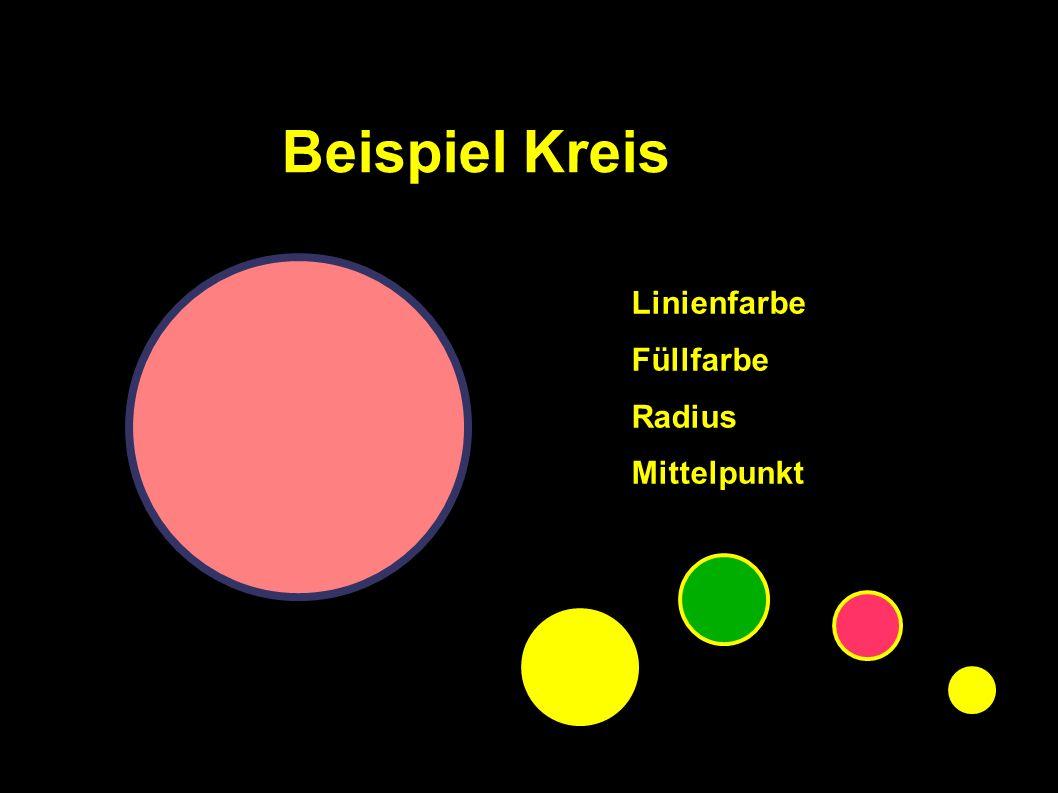 Linienfarbe Füllfarbe Radius Mittelpunkt Beispiel Kreis