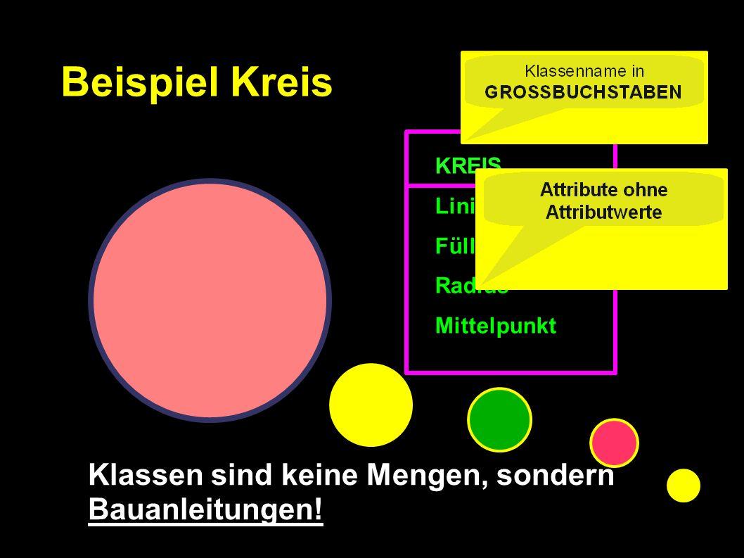 KREIS Linienfarbe Füllfarbe Radius Mittelpunkt Beispiel Kreis Klassen sind keine Mengen, sondern Bauanleitungen!