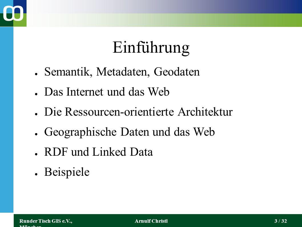 Runder Tisch GIS e.V., München Arnulf Christl14 / 32 ● DNS (Domain Name System) ● Internet Protocol Suite ● TCP/IP, TLS ● HTTP ● URI ●...
