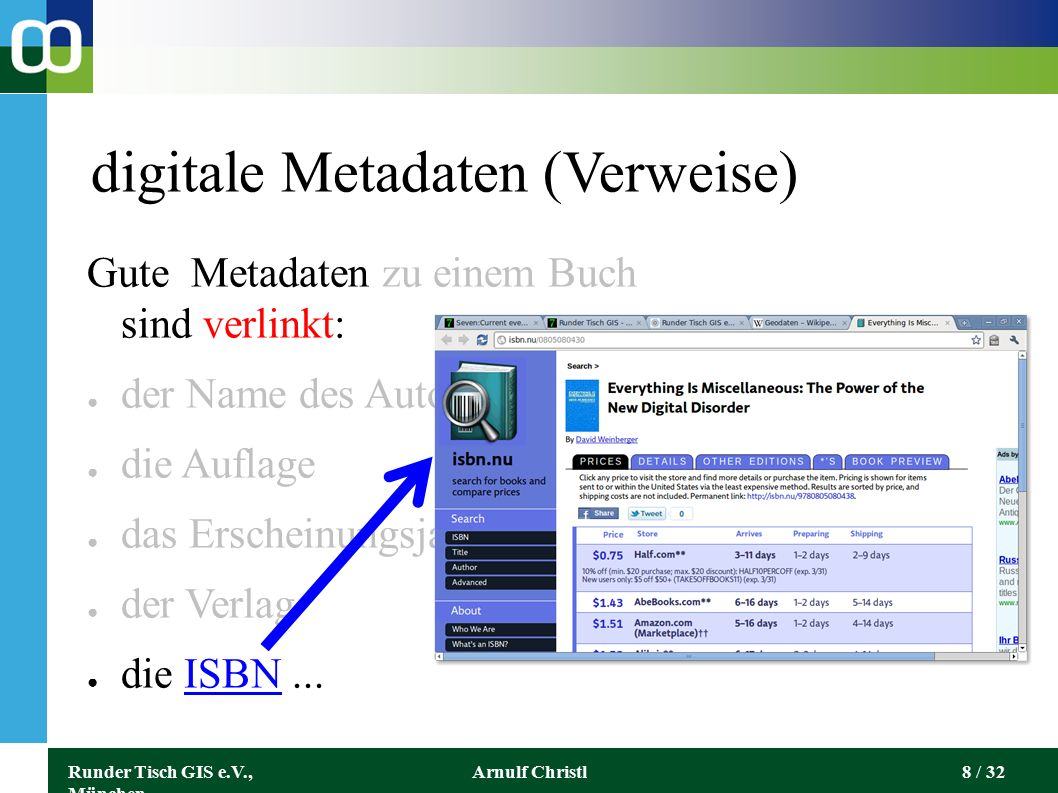 Runder Tisch GIS e.V., München Arnulf Christl29 / 32 Geo und Metadaten vernetzen Geodaten können Metadaten enthalten / sein: kmlkml - Keyhole Markup Language (OGC) xmlxml - eXtensible Markup Language (W3C) rssrss - Really Simple Syndication (W3C) rdfrdf - Resource Description Framework (W3C) → Da geht noch viel mehr, weil alles vernetzt ist!