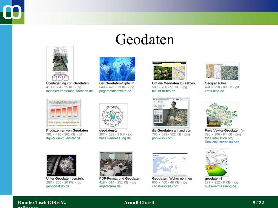 Runder Tisch GIS e.V., München Arnulf Christl30 / 32 Ordnance Survey Open Data http://data.ordnancesurve y.co.uk/