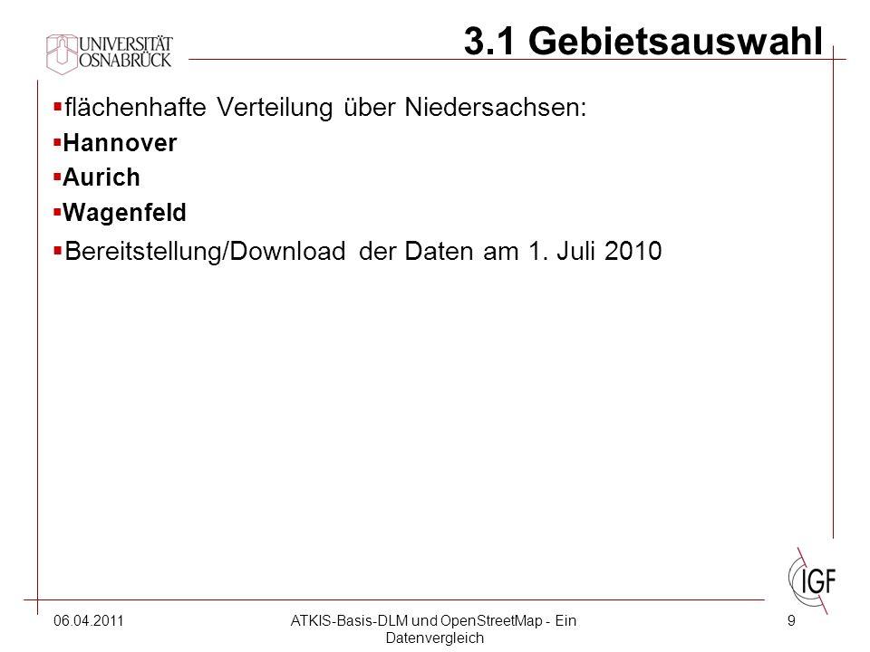 06.04.2011ATKIS-Basis-DLM und OpenStreetMap - Ein Datenvergleich 9 3.1 Gebietsauswahl  flächenhafte Verteilung über Niedersachsen:  Hannover  Aurich  Wagenfeld  Bereitstellung/Download der Daten am 1.