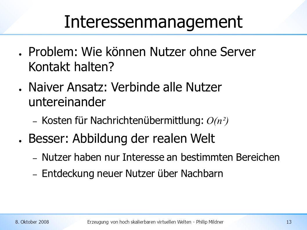 8. Oktober 2008Erzeugung von hoch skalierbaren virtuellen Welten - Philip Mildner13 Interessenmanagement ● Problem: Wie können Nutzer ohne Server Kont