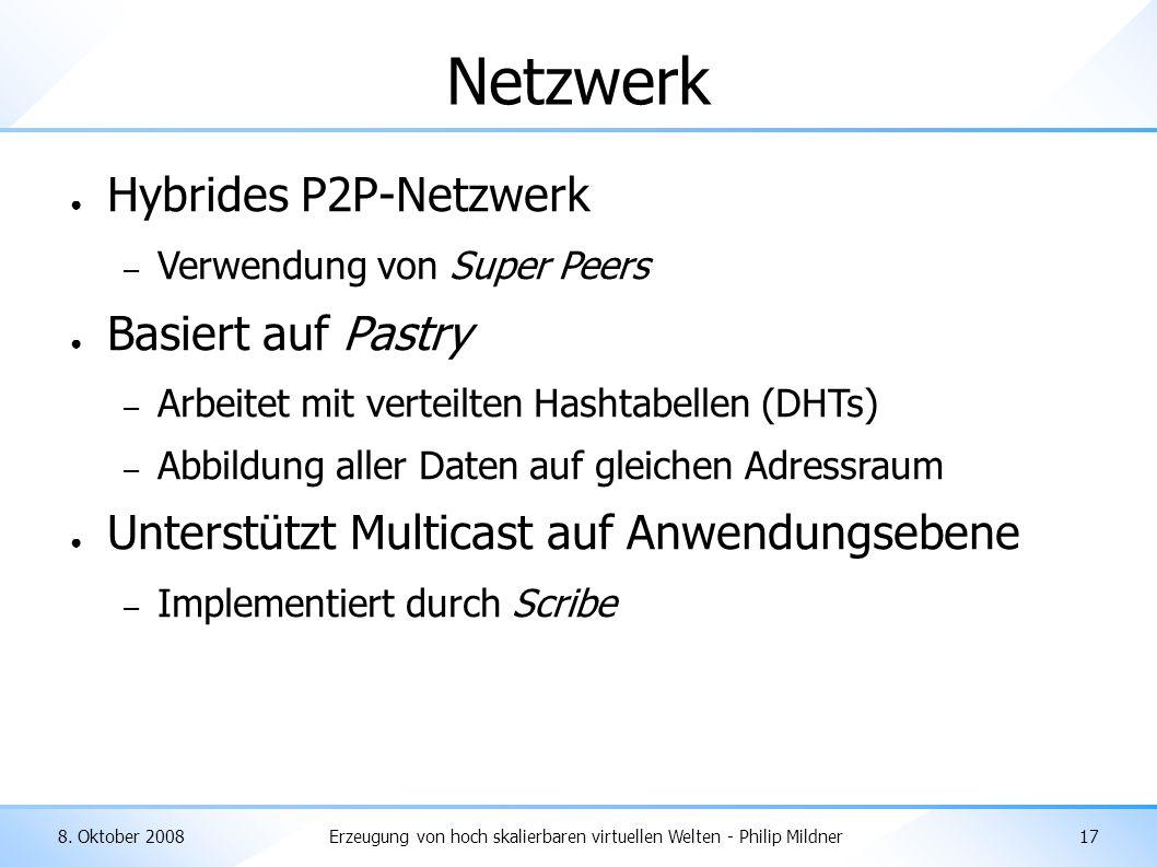 8. Oktober 2008Erzeugung von hoch skalierbaren virtuellen Welten - Philip Mildner17 Netzwerk ● Hybrides P2P-Netzwerk – Verwendung von Super Peers ● Ba