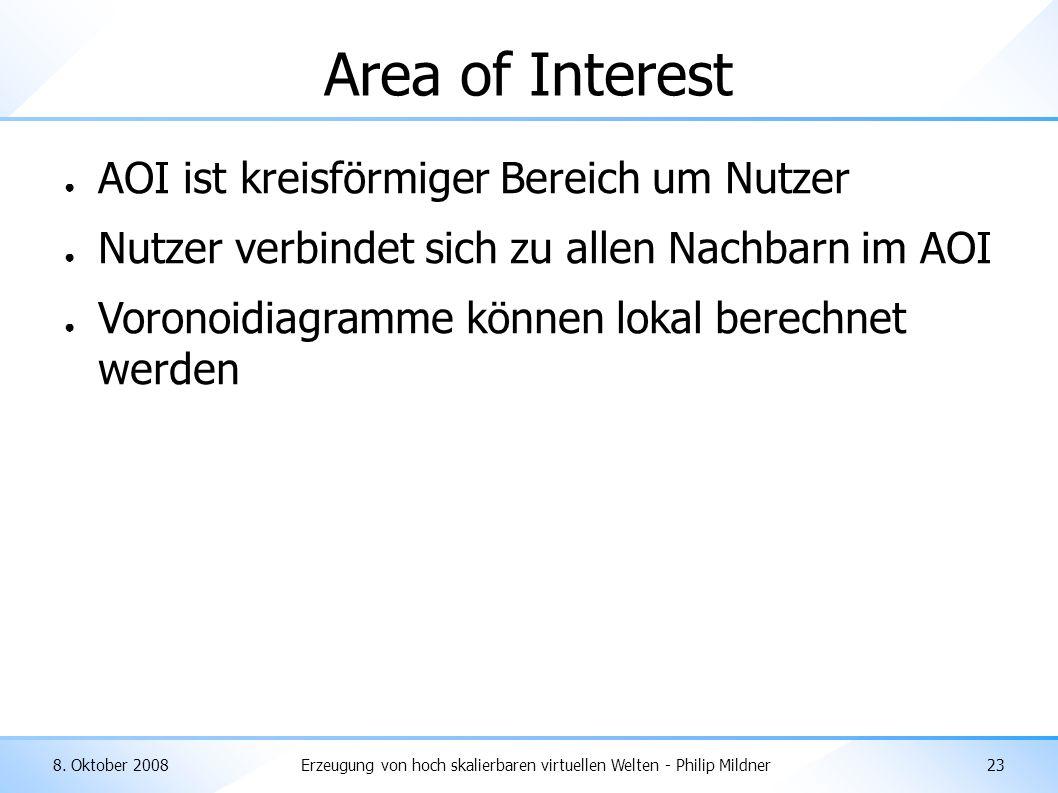 8. Oktober 2008Erzeugung von hoch skalierbaren virtuellen Welten - Philip Mildner23 Area of Interest ● AOI ist kreisförmiger Bereich um Nutzer ● Nutze