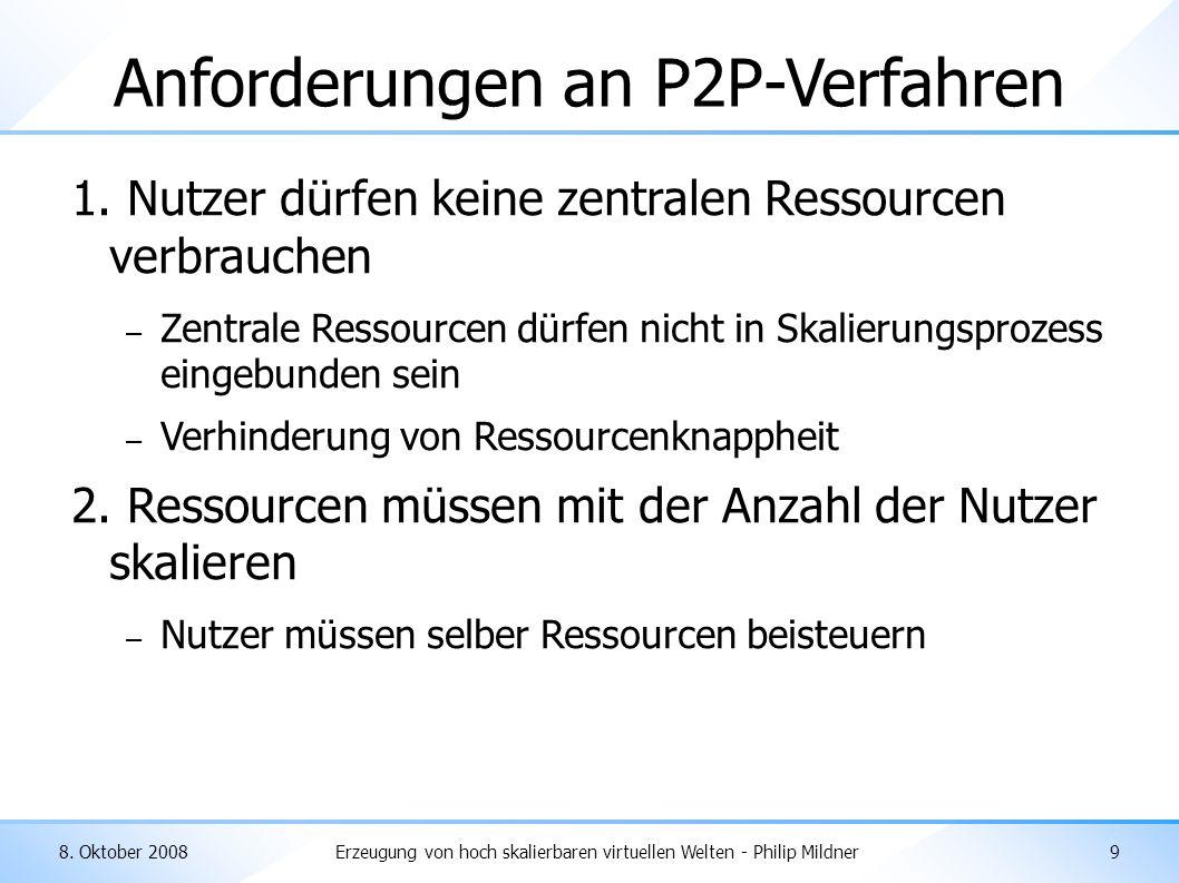 8. Oktober 2008Erzeugung von hoch skalierbaren virtuellen Welten - Philip Mildner9 Anforderungen an P2P-Verfahren 1. Nutzer dürfen keine zentralen Res