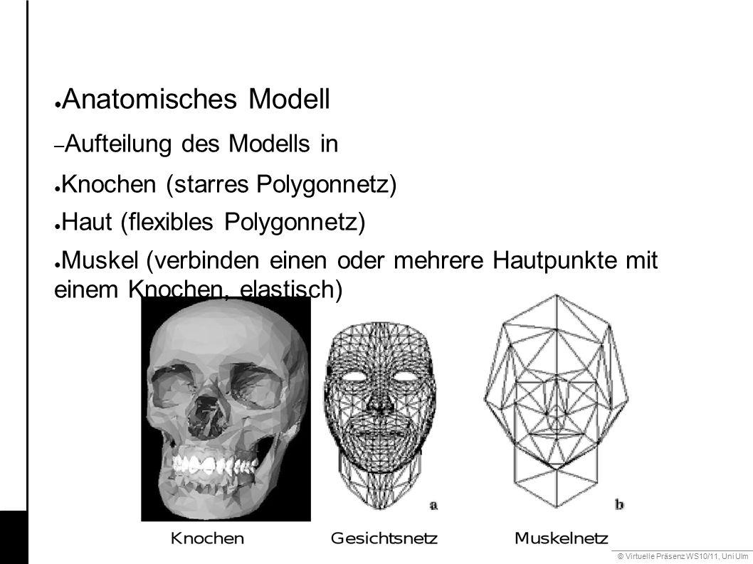 © Virtuelle Präsenz WS10/11, Uni Ulm 6.2 Mimik ● Anatomisches Modell – Aufteilung des Modells in ● Knochen (starres Polygonnetz) ● Haut (flexibles Polygonnetz) ● Muskel (verbinden einen oder mehrere Hautpunkte mit einem Knochen, elastisch)