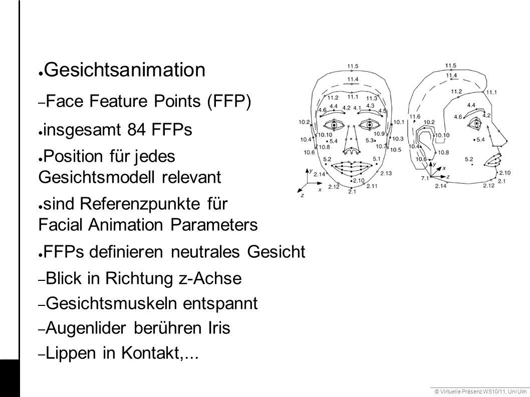 © Virtuelle Präsenz WS10/11, Uni Ulm 6.2 Mimik ● Gesichtsanimation – Face Feature Points (FFP) ● insgesamt 84 FFPs ● Position für jedes Gesichtsmodell
