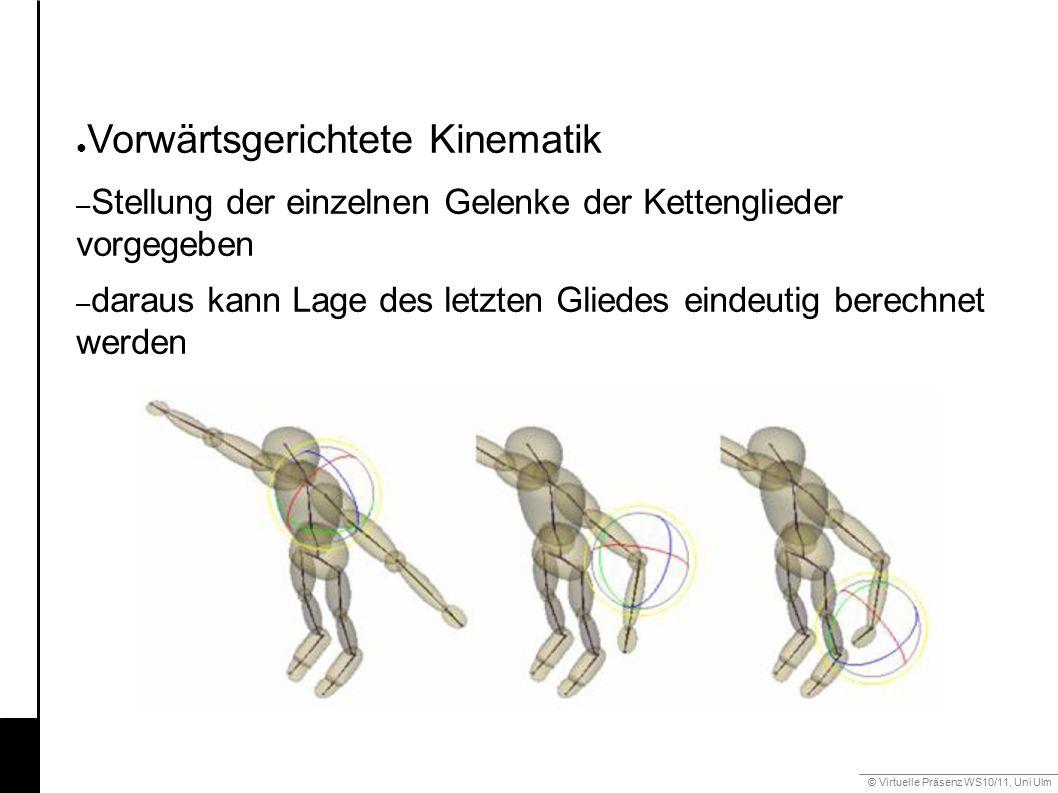 © Virtuelle Präsenz WS10/11, Uni Ulm 6.3 Gestik ● Vorwärtsgerichtete Kinematik – Stellung der einzelnen Gelenke der Kettenglieder vorgegeben – daraus