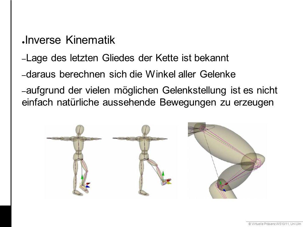© Virtuelle Präsenz WS10/11, Uni Ulm 6.3 Gestik ● Inverse Kinematik – Lage des letzten Gliedes der Kette ist bekannt – daraus berechnen sich die Winke