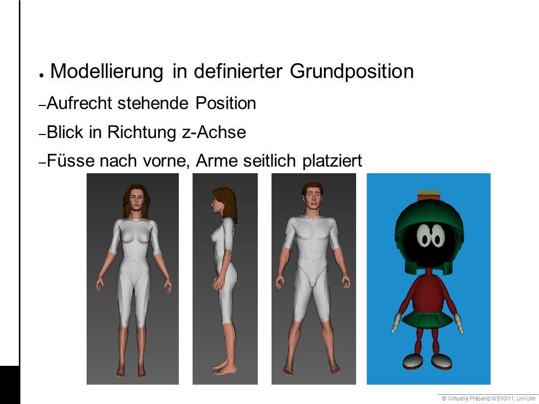 © Virtuelle Präsenz WS10/11, Uni Ulm 6.3 Gestik ● Modellierung in definierter Grundposition – Aufrecht stehende Position – Blick in Richtung z-Achse – Füsse nach vorne, Arme seitlich platziert