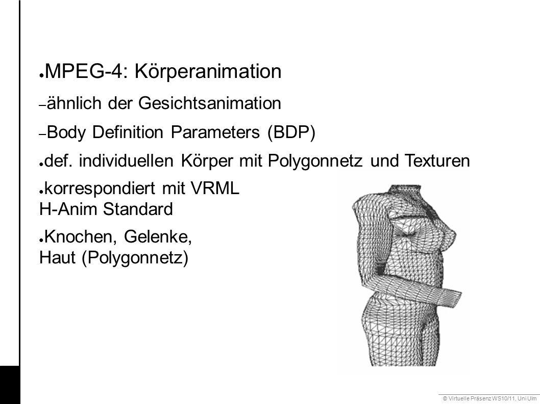 © Virtuelle Präsenz WS10/11, Uni Ulm 6.3 Gestik ● MPEG-4: Körperanimation – ähnlich der Gesichtsanimation – Body Definition Parameters (BDP) ● def.