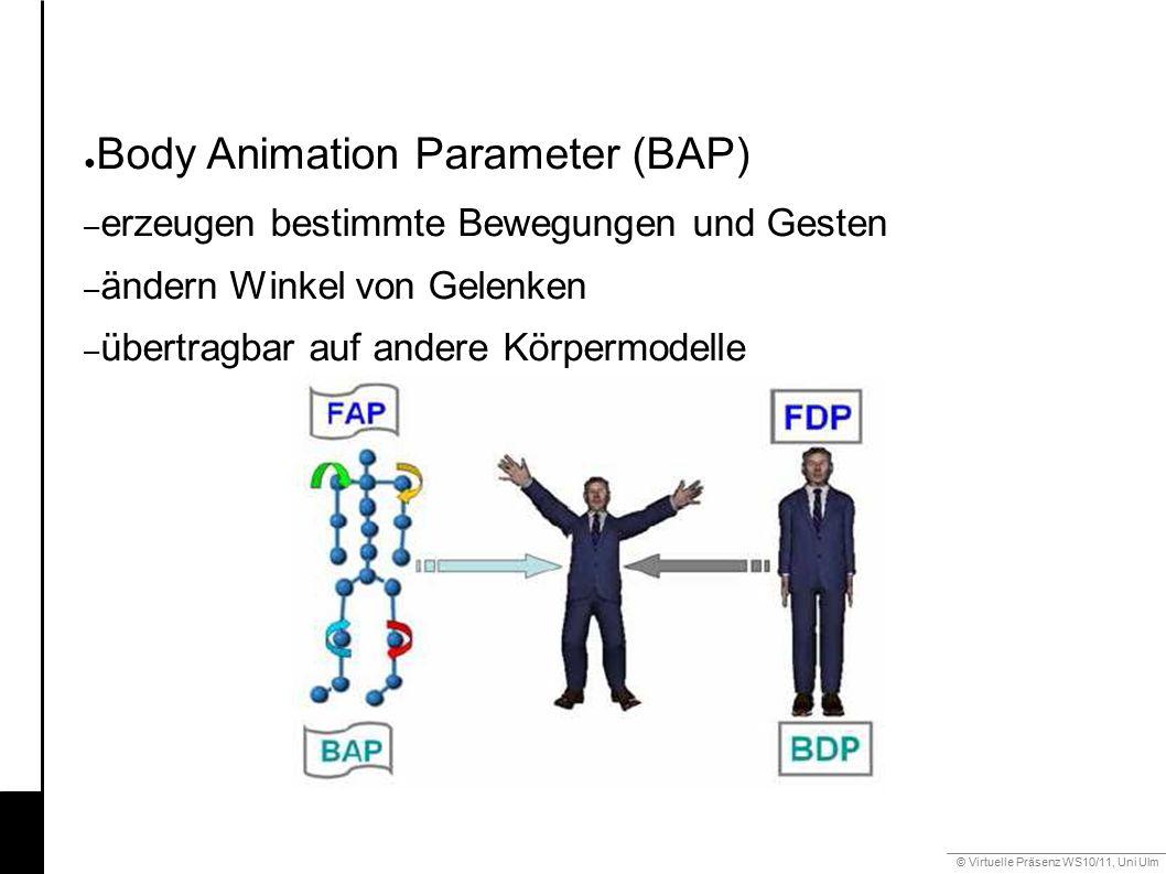 © Virtuelle Präsenz WS10/11, Uni Ulm 6.3 Gestik ● Body Animation Parameter (BAP) – erzeugen bestimmte Bewegungen und Gesten – ändern Winkel von Gelenken – übertragbar auf andere Körpermodelle