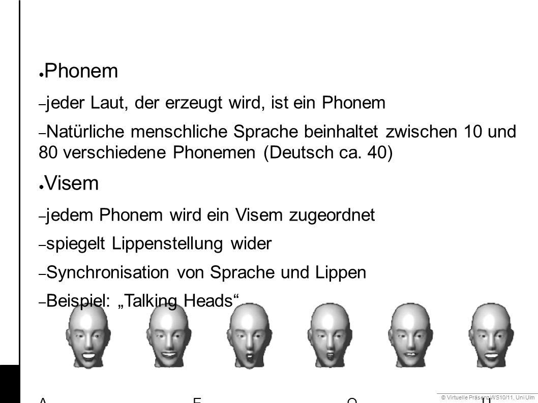 © Virtuelle Präsenz WS10/11, Uni Ulm 6.2 Mimik ● FACS (Facial Action Coding System) – Standardklassifikation der mimischen Muskelbewegungen – Aufteilung der Gesichtsbewegung in Action Units (AU) – Gesichtsausdrücke durch Kombination von AUs AU12 + 25 AU20 + 25
