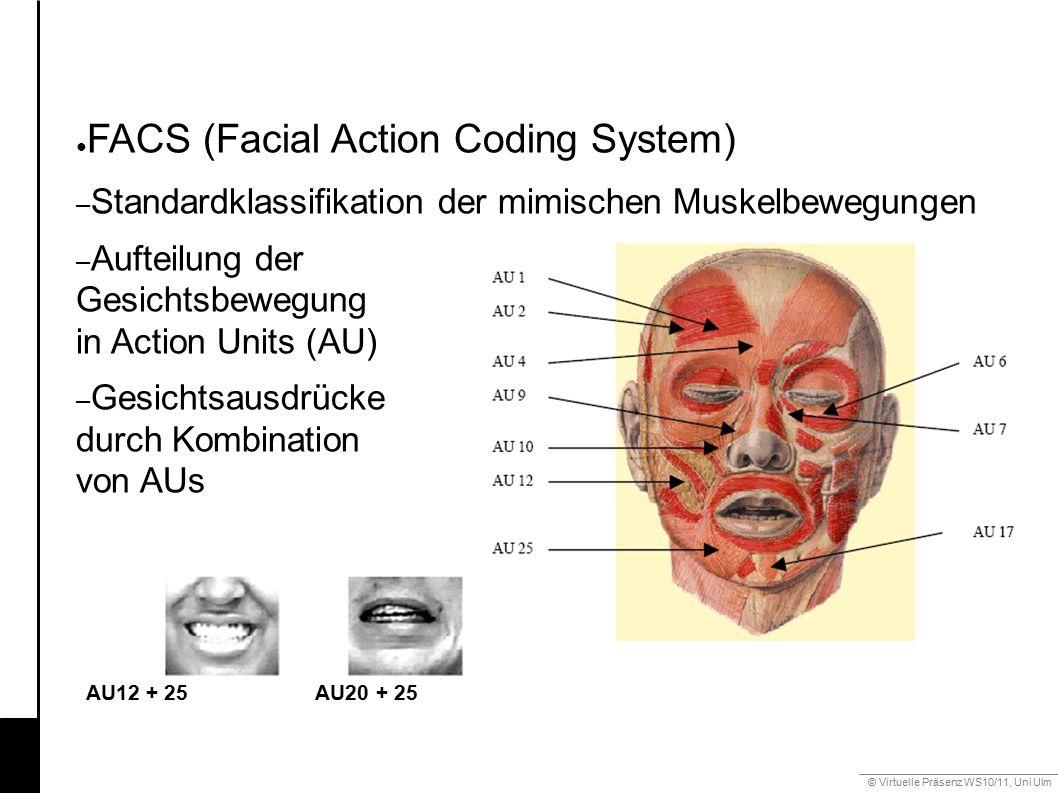 © Virtuelle Präsenz WS10/11, Uni Ulm 6.2 Mimik ● FACS (Facial Action Coding System) – Standardklassifikation der mimischen Muskelbewegungen – Aufteilu