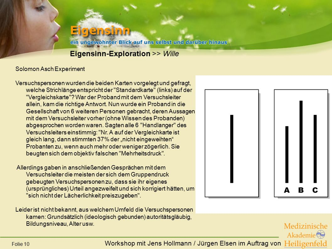 Workshop mit Jens Hollmann / Jürgen Elsen im Auftrag von Folie 10 Eigensinn-Exploration >> Wille Solomon Asch Experiment Versuchspersonen wurden die b