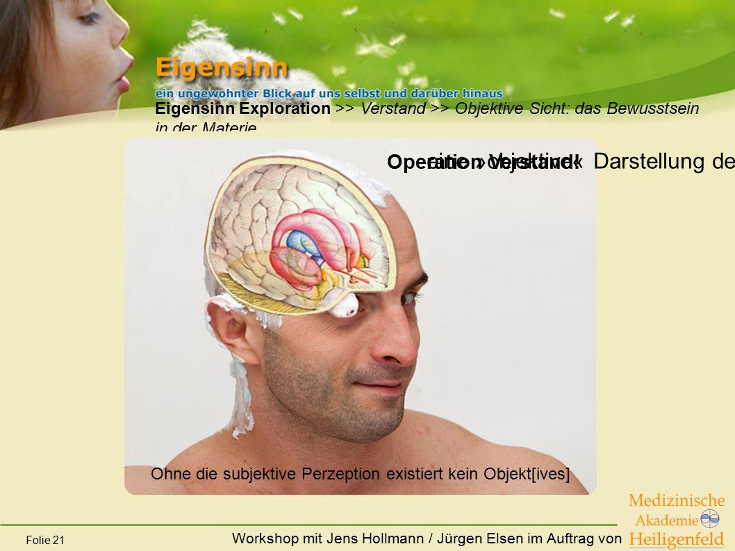 Workshop mit Jens Hollmann / Jürgen Elsen im Auftrag von Folie 21 Eigensinn Exploration >> Verstand >> Objektive Sicht: das Bewusstsein in der Materie