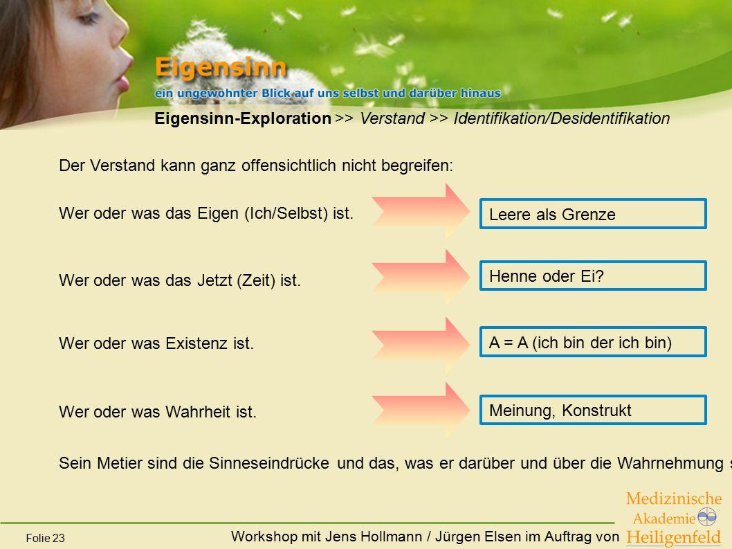 Workshop mit Jens Hollmann / Jürgen Elsen im Auftrag von Folie 23 Eigensinn-Exploration >> Verstand >> Identifikation/Desidentifikation Der Verstand k