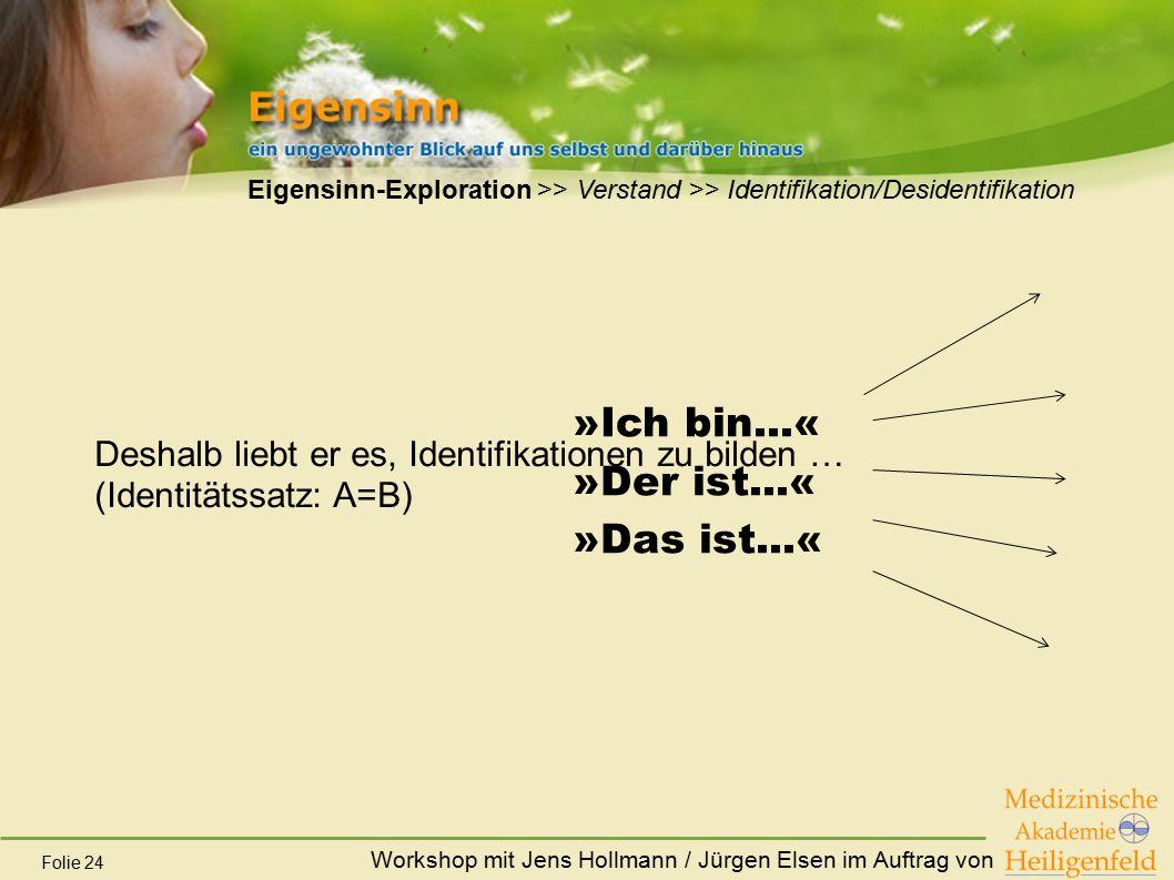Workshop mit Jens Hollmann / Jürgen Elsen im Auftrag von Folie 24 Eigensinn-Exploration >> Verstand >> Identifikation/Desidentifikation Deshalb liebt