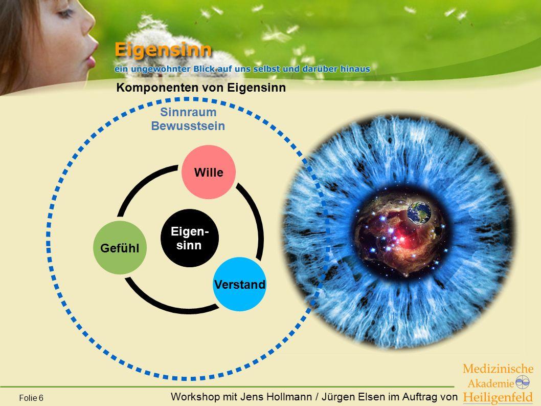Workshop mit Jens Hollmann / Jürgen Elsen im Auftrag von Folie 6 Komponenten von Eigensinn Gefühl Verstand Wille Eigen- sinn Sinnraum Bewusstsein