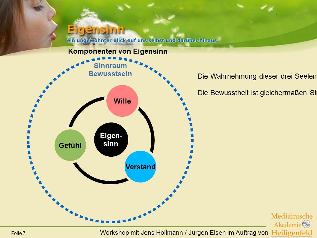 Workshop mit Jens Hollmann / Jürgen Elsen im Auftrag von Folie 7 Komponenten von Eigensinn Gefühl Verstand Wille Eigen- sinn Sinnraum Bewusstsein Die