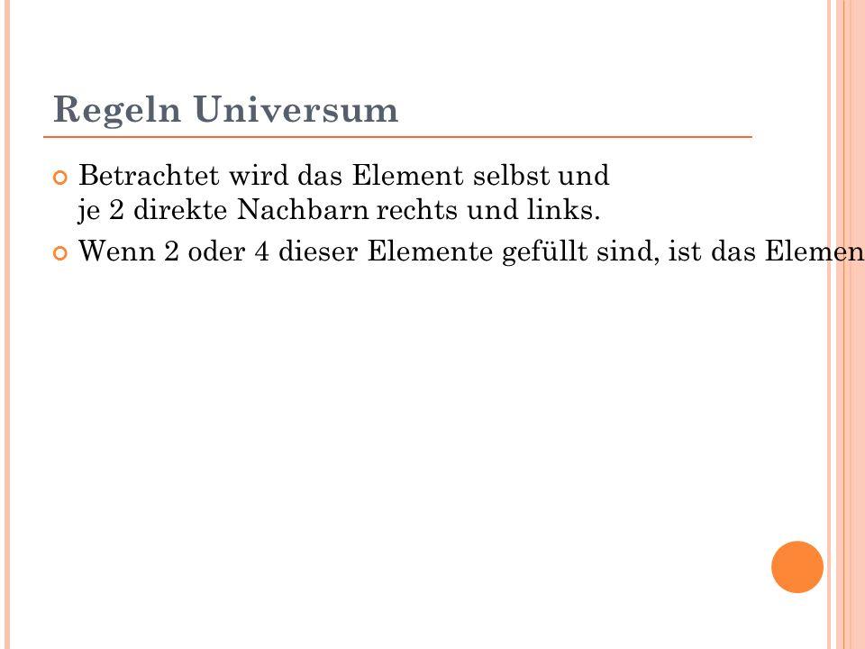 Regeln Universum Betrachtet wird das Element selbst und je 2 direkte Nachbarn rechts und links.
