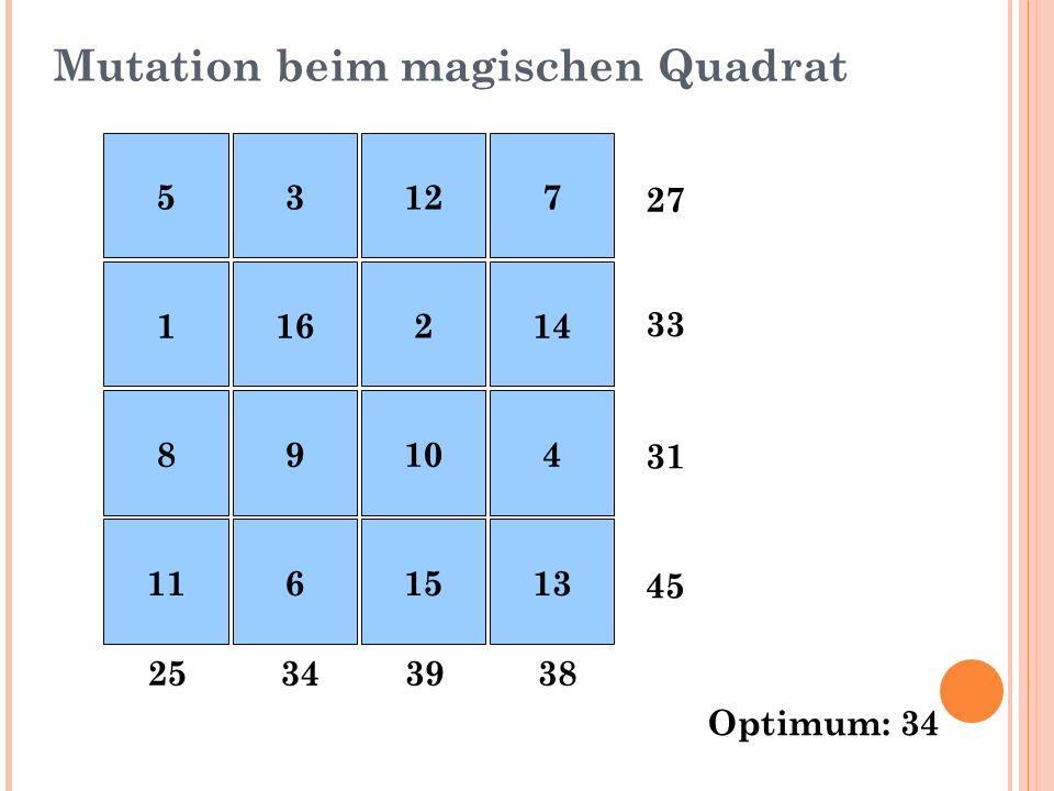 Mutation beim magischen Quadrat 27 33 31 45 38393425 Optimum: 34 53127 116214 89104 1161513