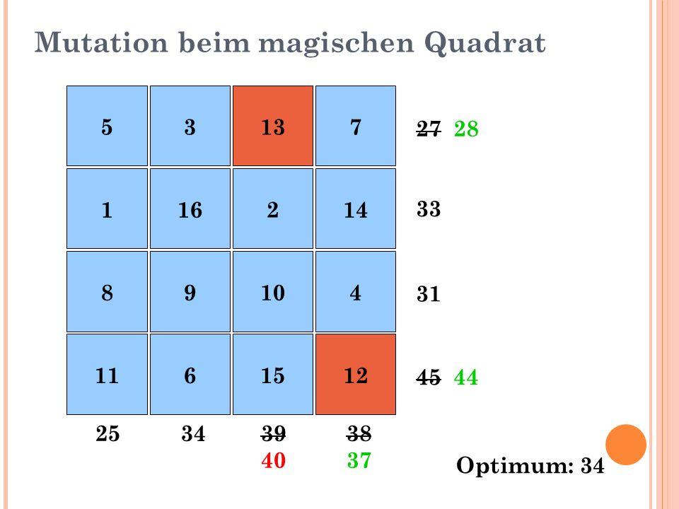 Mutation beim magischen Quadrat 27 33 31 45 38393425 28 44 3740 537 116214 89104 11615 13 12 Optimum: 34