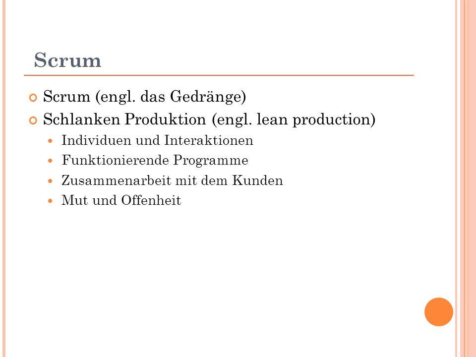 Scrum Scrum (engl. das Gedränge) Schlanken Produktion (engl.