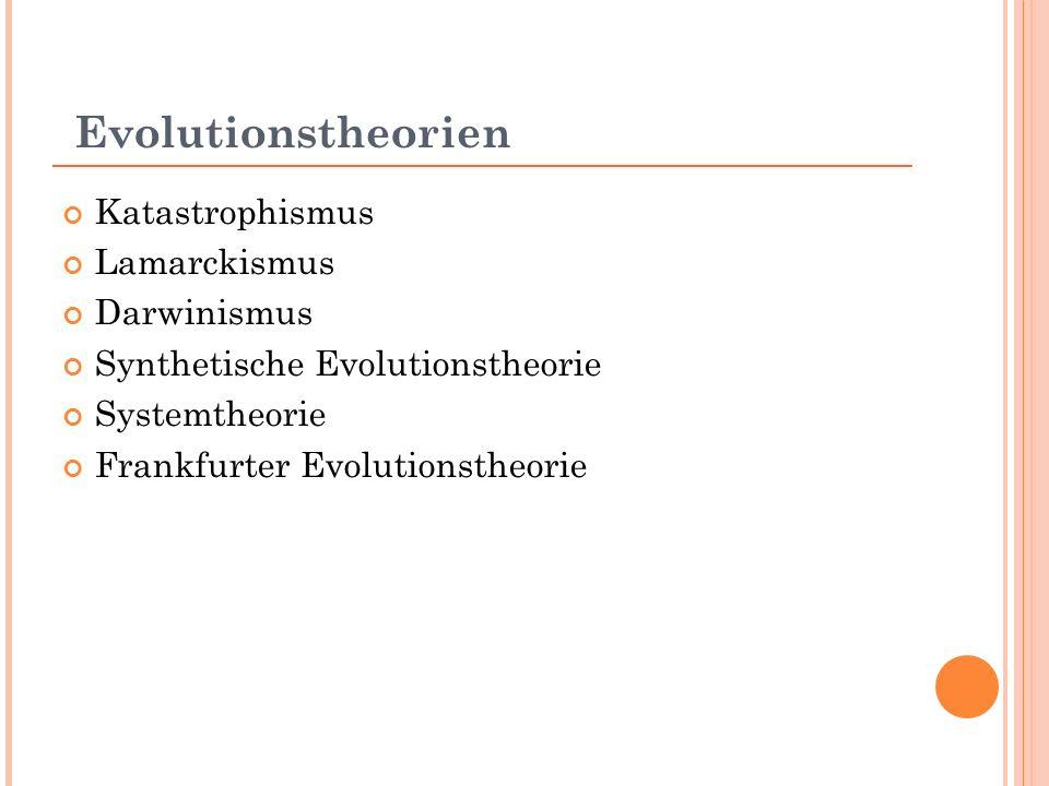 Evolutionstheorien Katastrophismus Lamarckismus Darwinismus Synthetische Evolutionstheorie Systemtheorie Frankfurter Evolutionstheorie