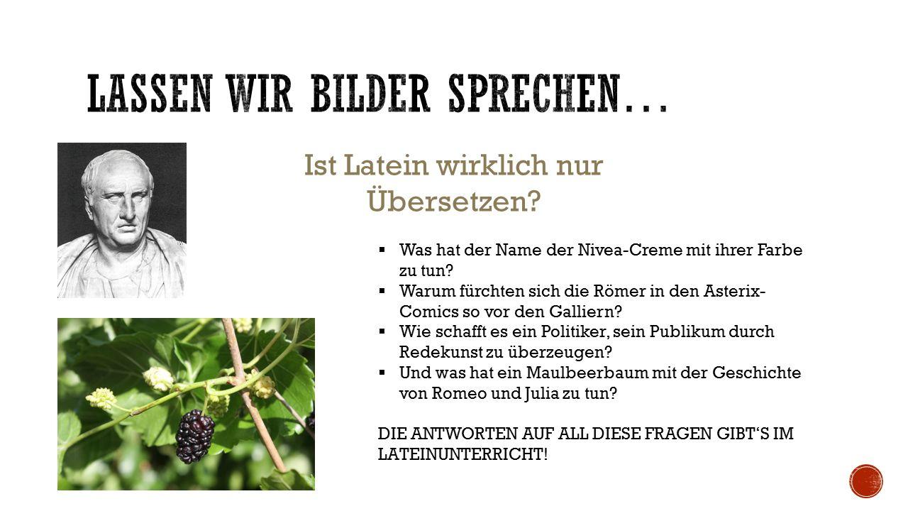 Ist Latein wirklich nur Übersetzen?  Was hat der Name der Nivea-Creme mit ihrer Farbe zu tun?  Warum fürchten sich die Römer in den Asterix- Comics