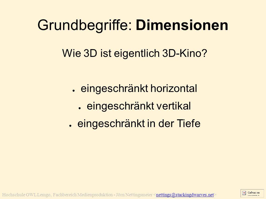 Hochschule OWL Lemgo, Fachbereich Medienproduktion - Jörn Nettingsmeier nettings@stackingdwarves.net Grundbegriffe: Dimensionen Wie 3D ist eigentlich