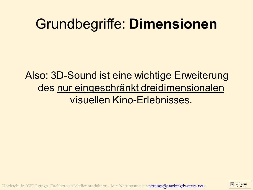 Hochschule OWL Lemgo, Fachbereich Medienproduktion - Jörn Nettingsmeier nettings@stackingdwarves.net Grundbegriffe: Dimensionen Also: 3D-Sound ist ein