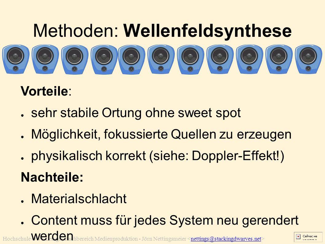 Hochschule OWL Lemgo, Fachbereich Medienproduktion - Jörn Nettingsmeier nettings@stackingdwarves.net Methoden: Wellenfeldsynthese Vorteile: ● sehr sta