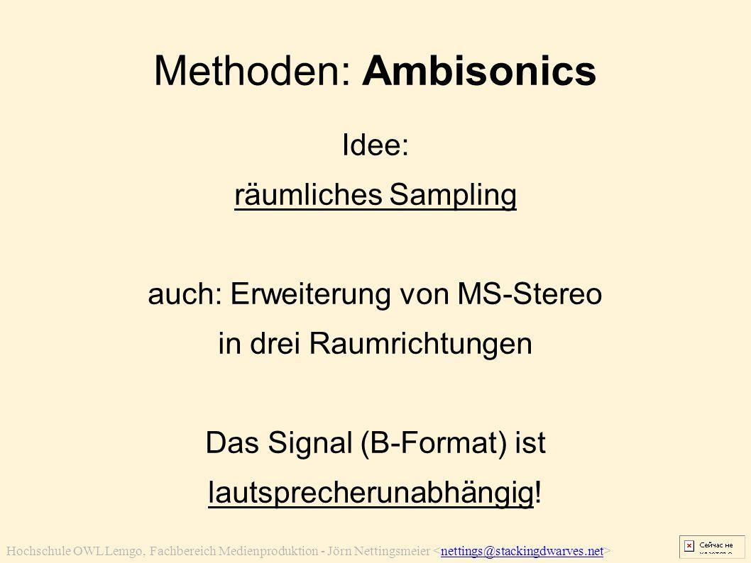 Hochschule OWL Lemgo, Fachbereich Medienproduktion - Jörn Nettingsmeier nettings@stackingdwarves.net Methoden: Ambisonics Idee: räumliches Sampling au